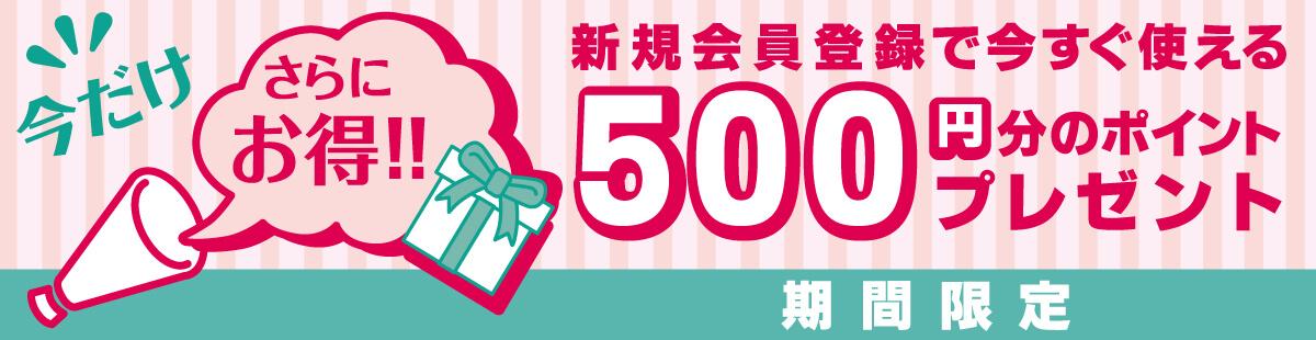 【新規会員登録】500円分のポイントプレゼント